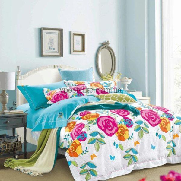 Сатин для постельного белья с розами фото