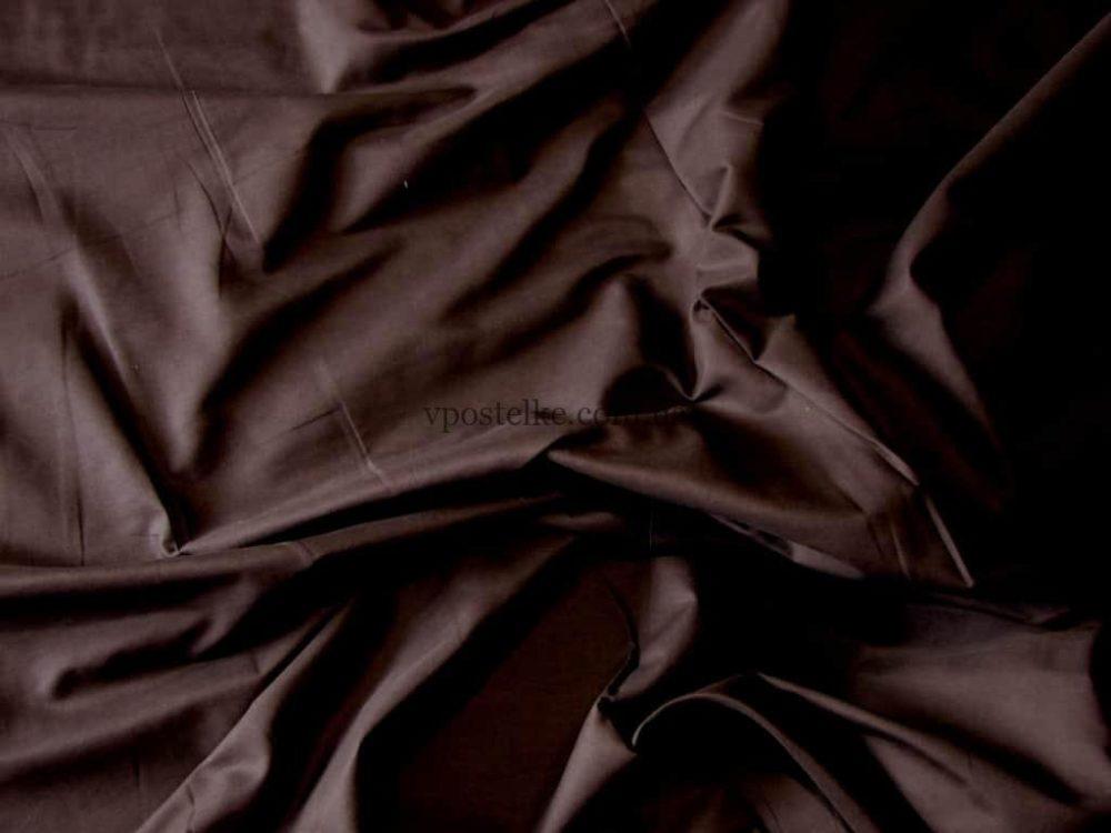 Комплект постельного белья однотонный сатин коричневого цвета