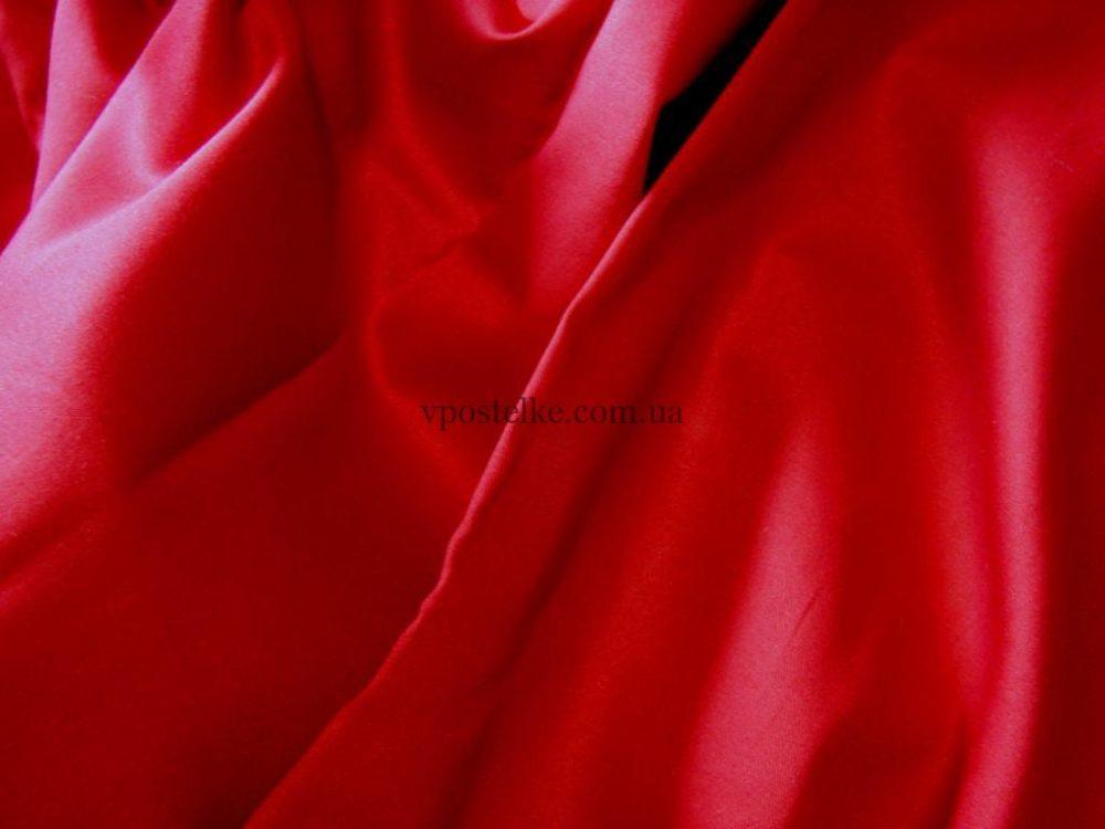 Сатин красного цвета однотонный 250 см