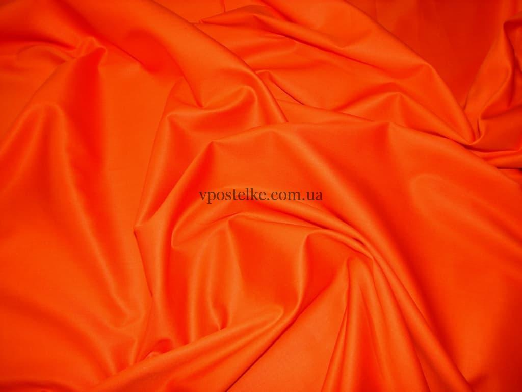 Постельное белье однотонное сатин оранжевого цвета