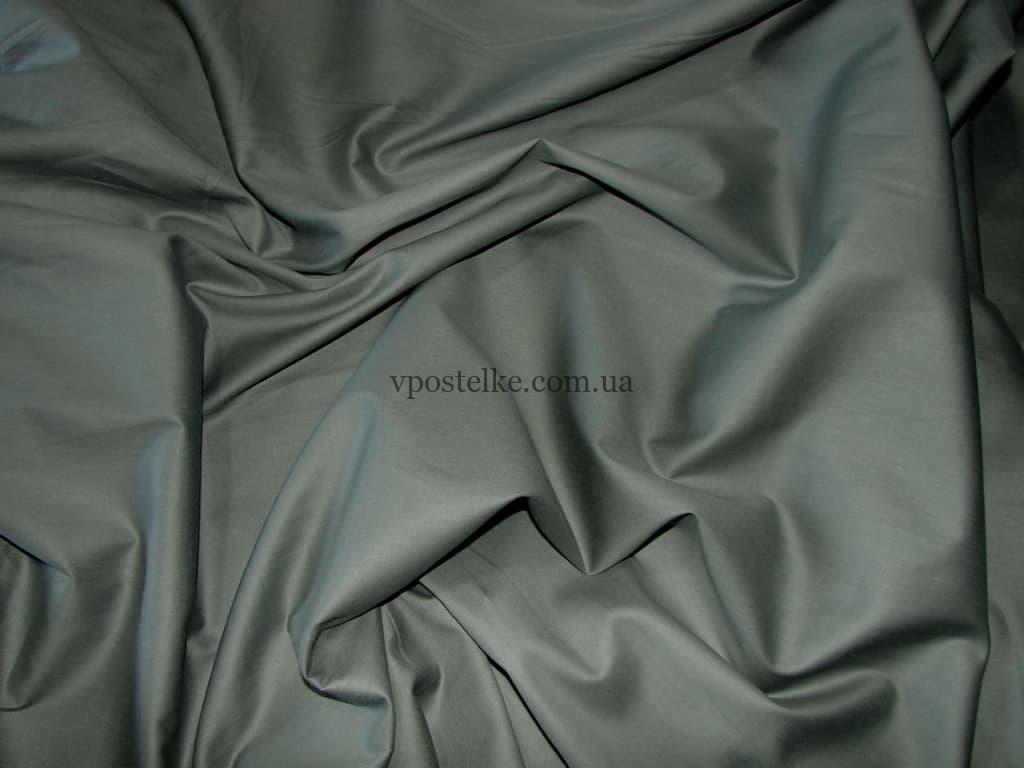 Постельное белье серое однотонное ткань сатин