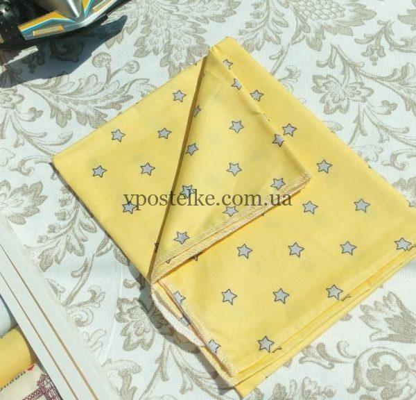 Пеленка «Серые звезды на желтом» 80*100 см сатин