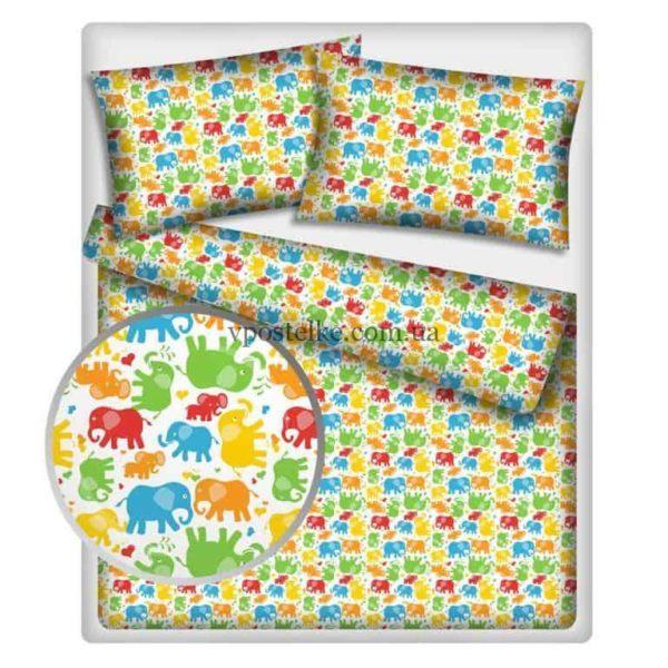 Постельное белье «Цветные слоники»