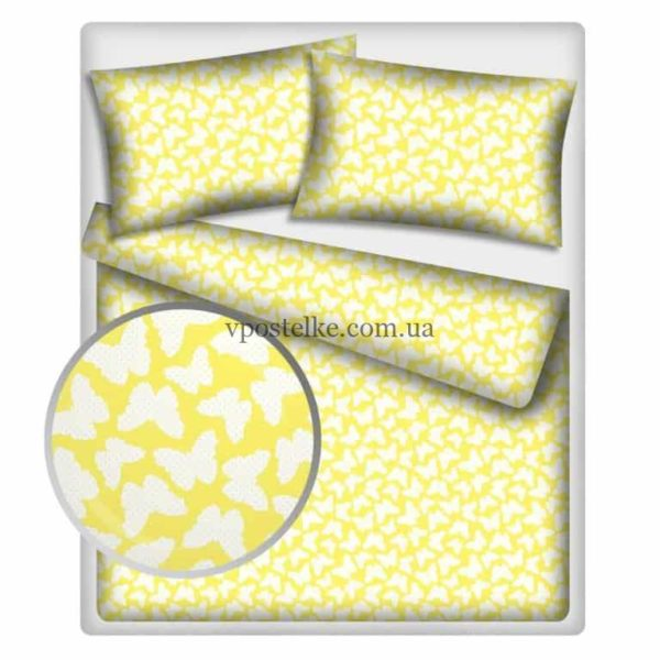 Постельное белье «Бабочки белые на желтом»