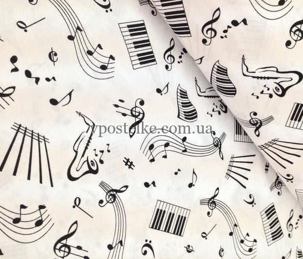 Постельное белье «Ноты черные на белом»