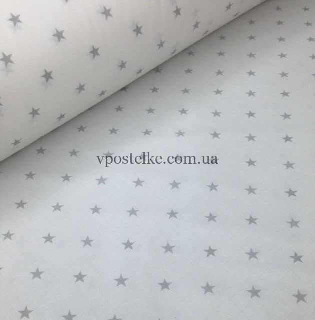 Постельное белье «Серые звезды мелкие на белом»