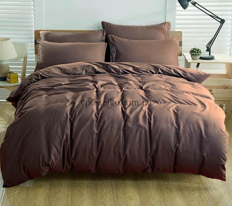 Постельное белье однотонное тёмно коричневого цвета