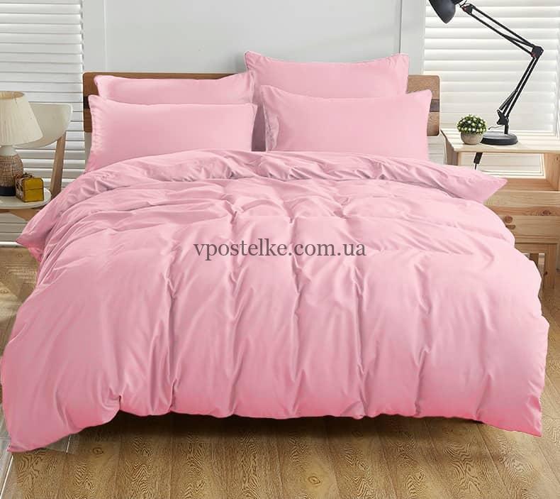 Постельное белье однотонное розовое