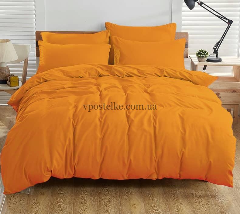 Постельное белье однотонное оранжевое