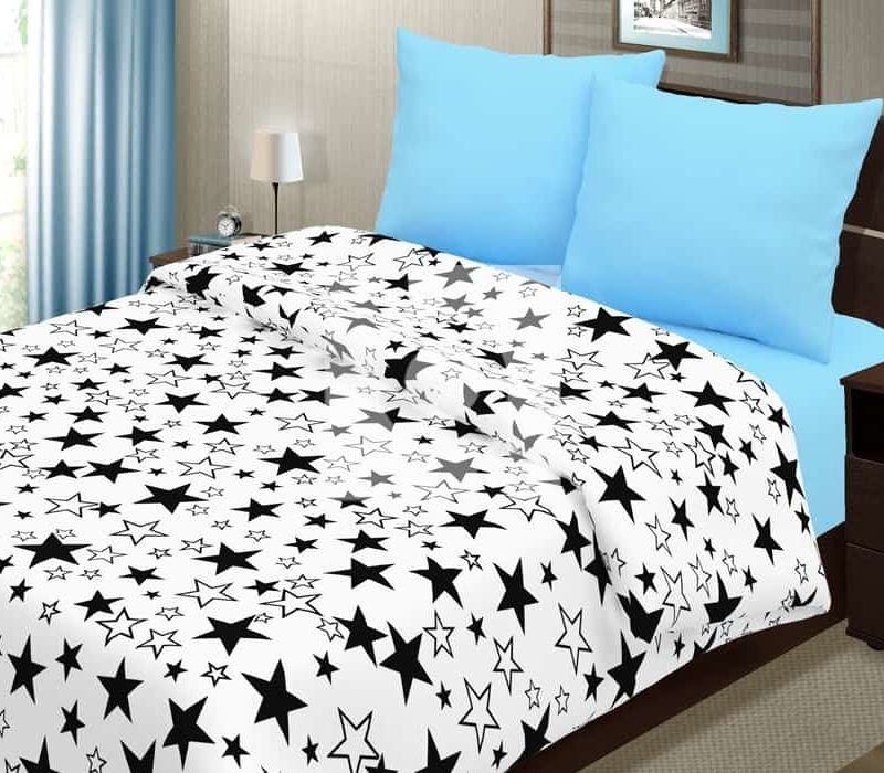Постельное белье «Звёзды чёрные на белом»