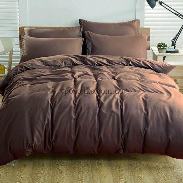 Ткань поплин тёмно коричневого цвета 220 см