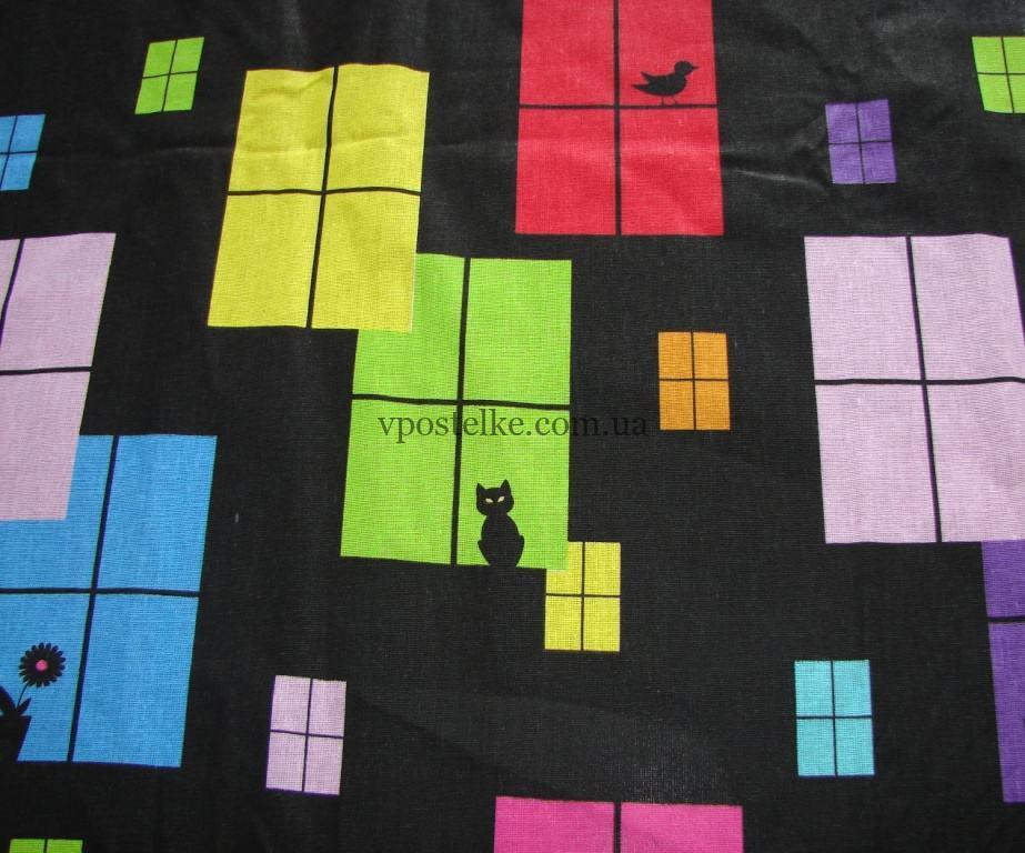 """Ткань бязь """"Чёрный кот Джокер"""" 150 см"""