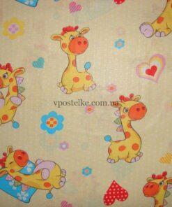 "Ткань поплин ""Жирафики"" на бежевом 150 см"