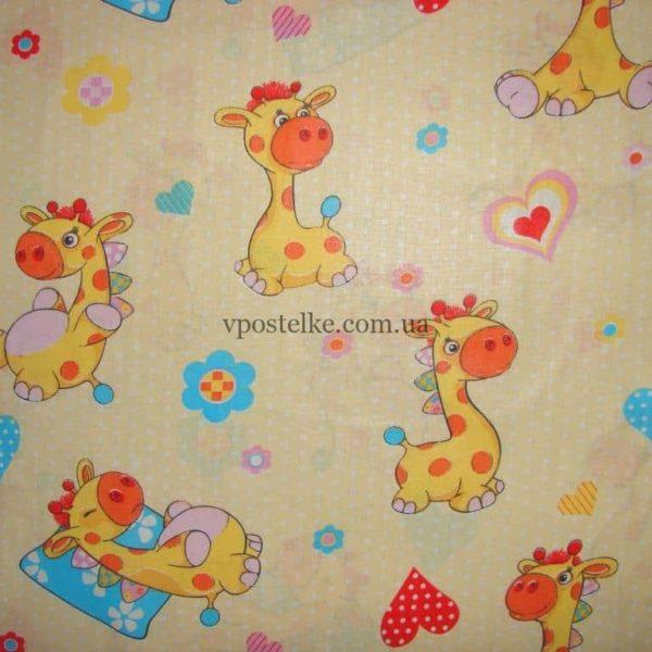 Ткань поплин «Жирафики» на бежевом 150 см