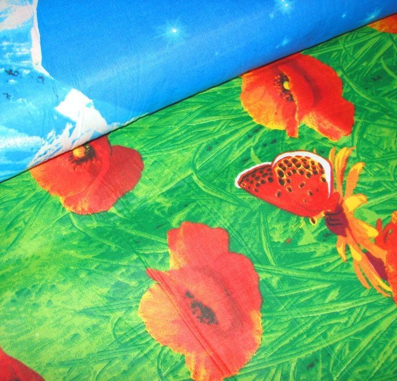Ткань бязь «Альпийские маки» 220 см