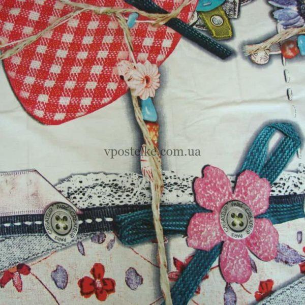 Ткань ранфорс «Шёлковое сердце» 220 см