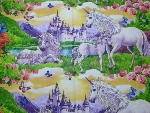 """Ткань бязь """"Сказочный мир Единорогов"""" 150 см"""
