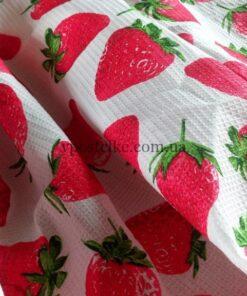 """Ткань для вафельных полотенец """"Клубника"""" 150 см"""