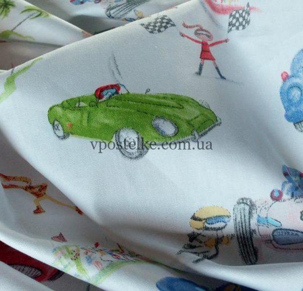 Ткань сатин «Автогонки» основа 160 см