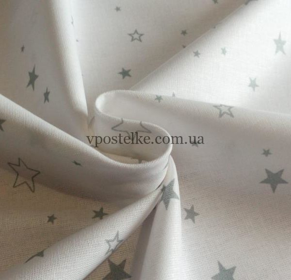 "Ткань бязь ""Звёзды серые на белом"" 220 см"