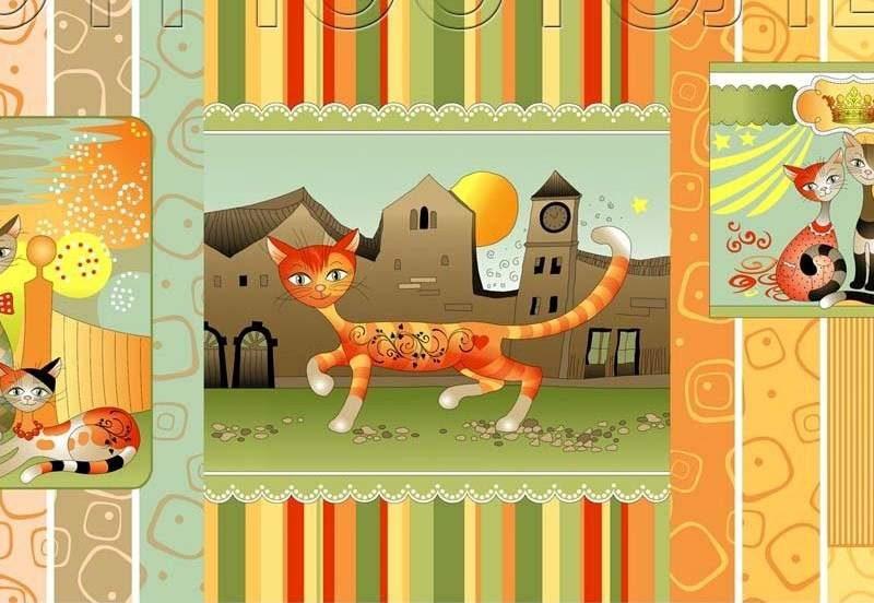 Ткань для вафельных полотенец «Кошкин дом» 150 см