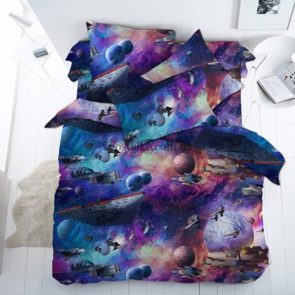 Ткань бязь «Космическая баталия» 150 см