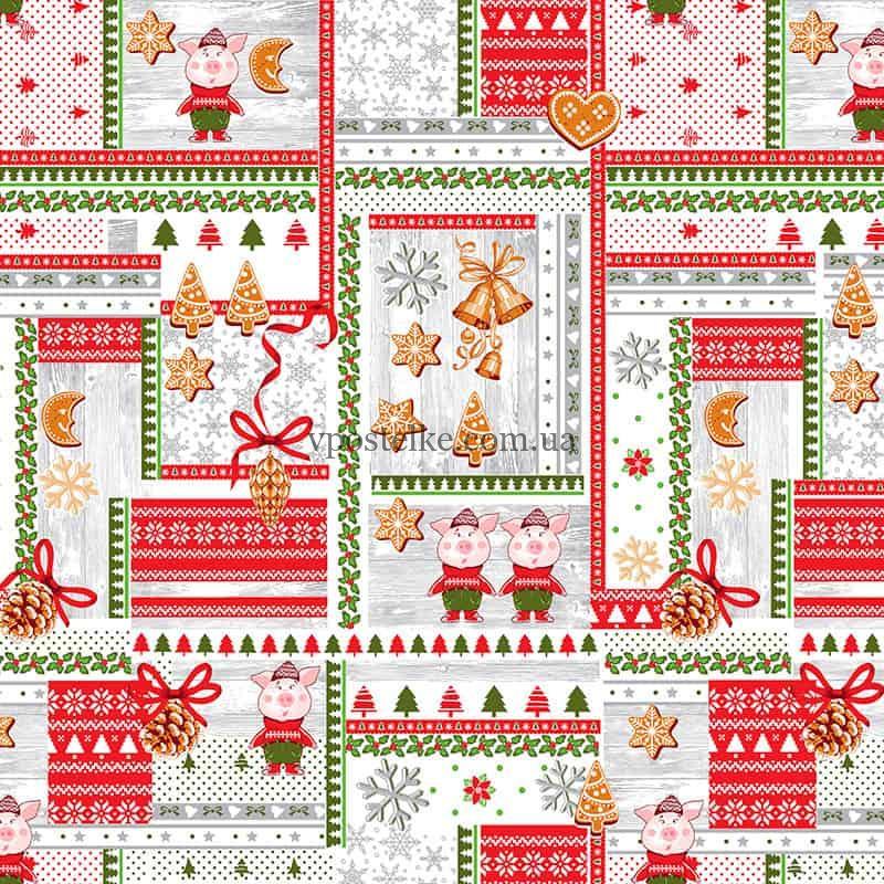 """Ткань для вафельных полотенец """"Новогодний пэчворк"""" 150 см"""