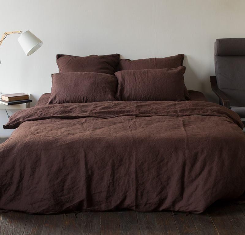 Ткань лён тёмно коричневого цвета 260 см