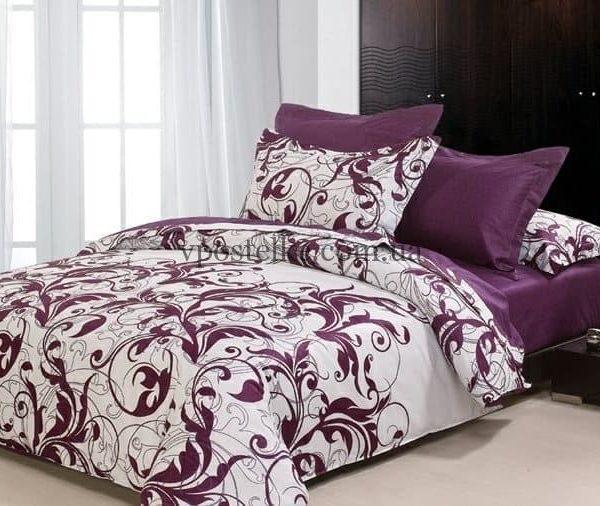 """Ткань фланель """"Вензель фиолетовый"""" компаньон 230 см"""