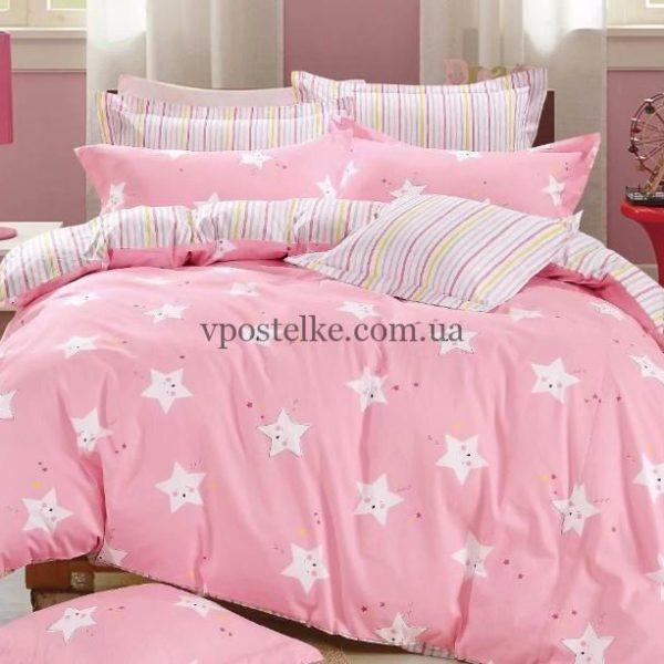 Ткань сатин «Маленькая звездочка на розовом» основа 160 см