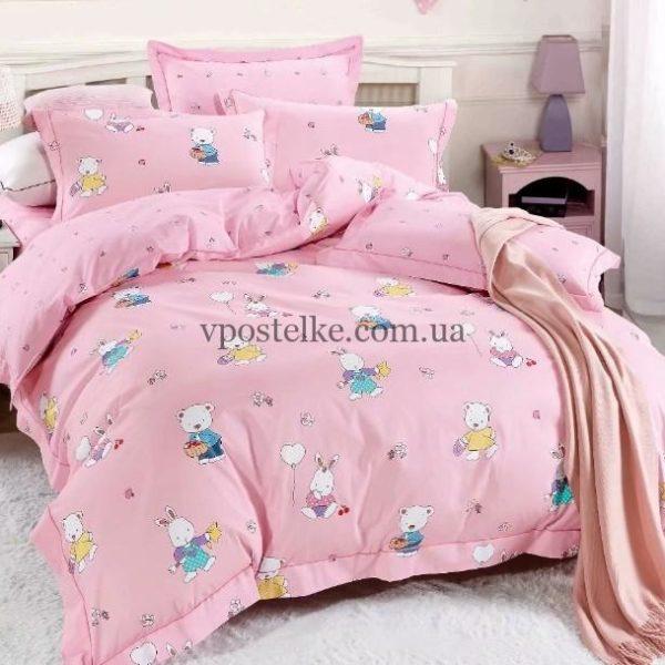 Ткань сатин «Малыши на розовом» основа 160 см