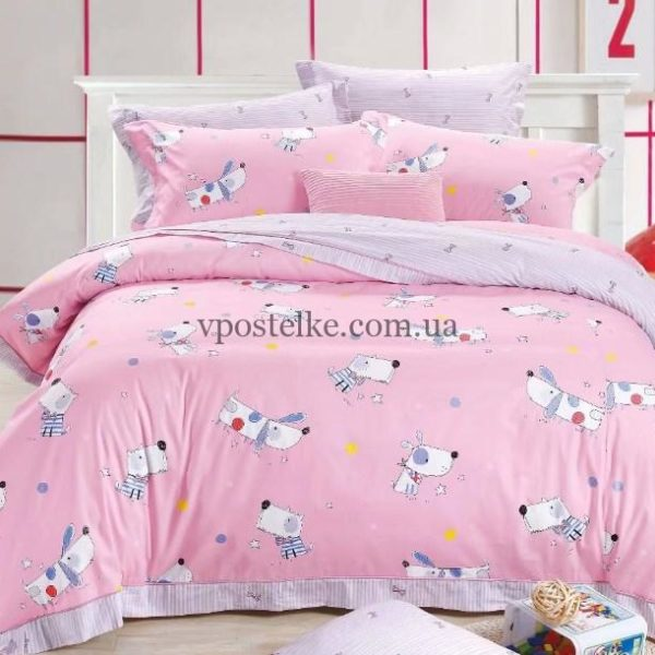 Ткань сатин «Собачки на розовом» компаньон 160 см