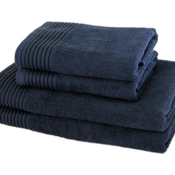 Полотенце махровое Терри Люкс тёмно синий