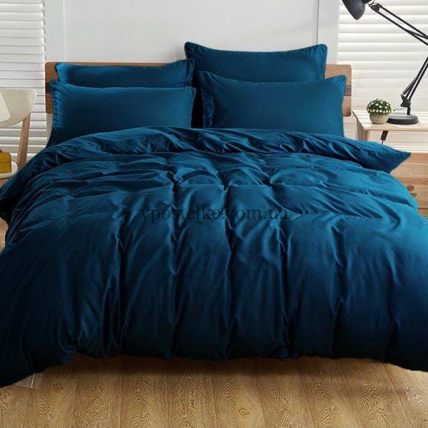 Постельное белье однотонное тёмно синего цвета