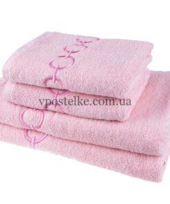 """Полотенце махровое """"Браслет"""" с вышивкой 50*90 см розовый"""