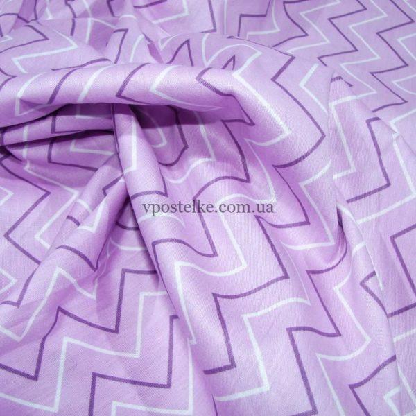 Ткань сатин «Зиг-заг сиреневый» 160 см