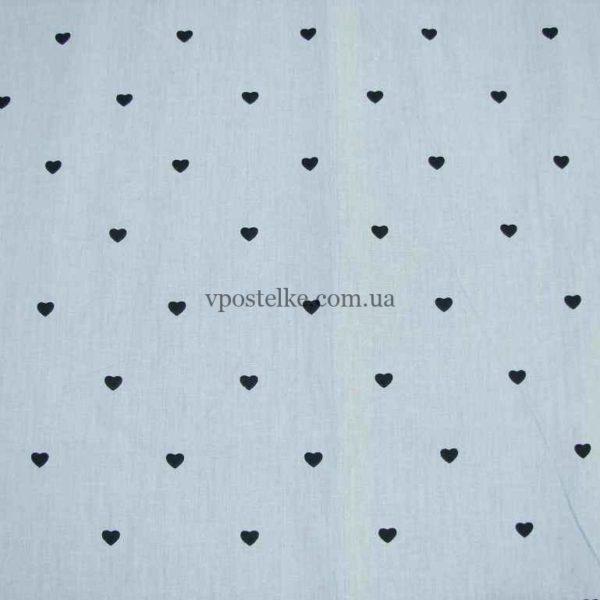 Ткань сатин «Сердечки мелкие на сером» 160 см