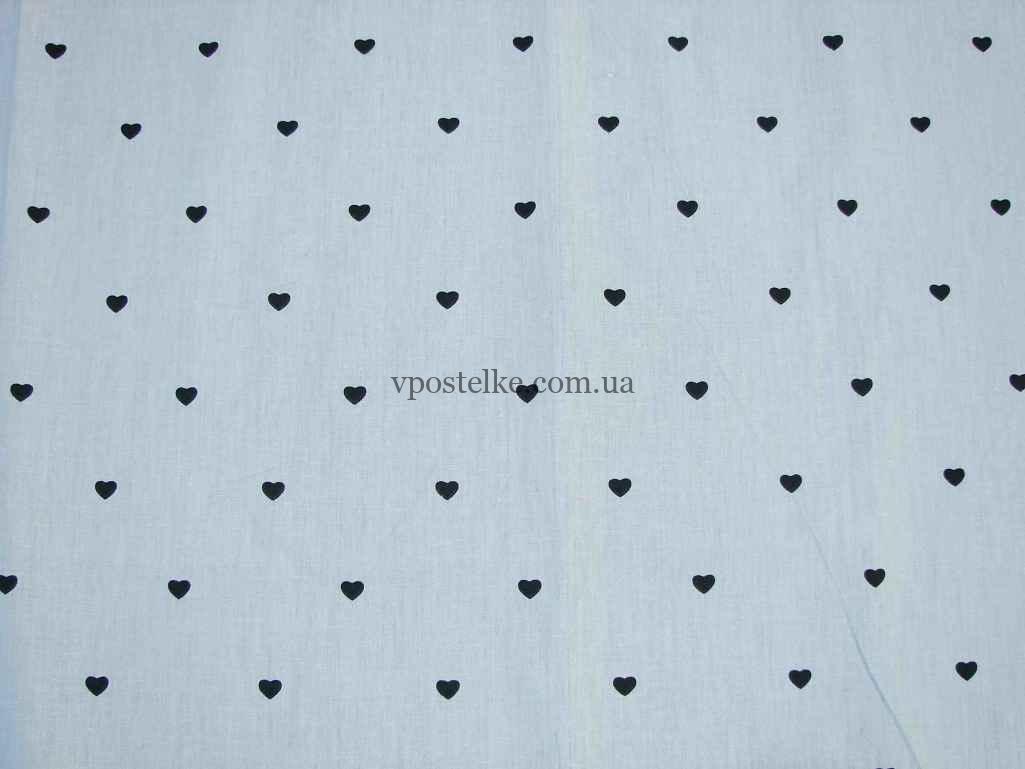 """Ткань сатин """"Сердечки мелкие на сером"""" 160 см"""