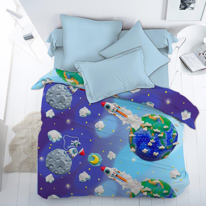Ткань поплин «Пластилиновый космос» 150 см