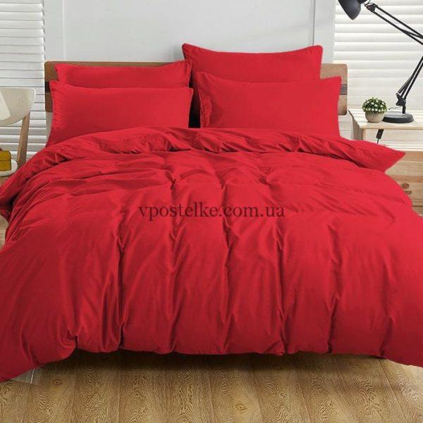 Постельное белье однотонное красного цвета