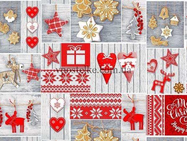 Ткань для вафельных новогодних полотенец «Чудеса» 150 см