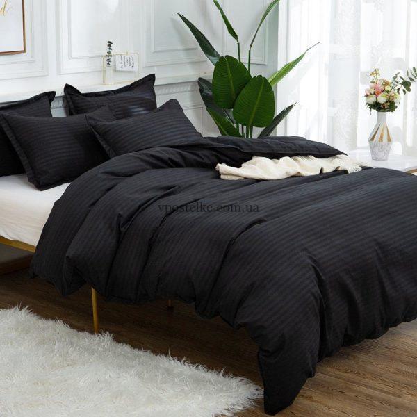Ткань страйп сатин чёрного цвета 220 см