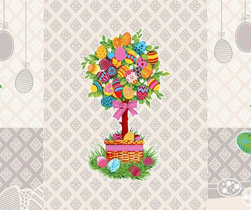 Ткань для вафельных полотенец Пасхальное дерево 150 см